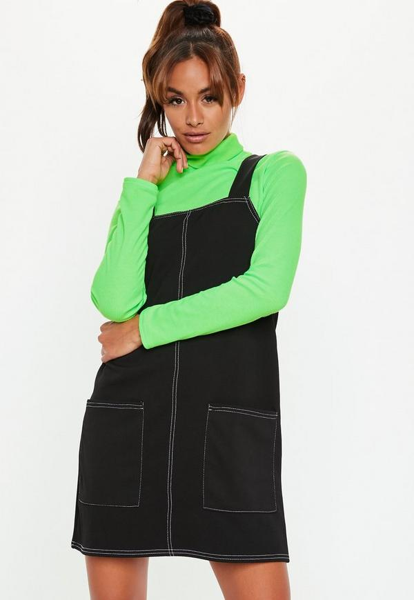 Black Contrast Stitch Pinafore Dress Missguided