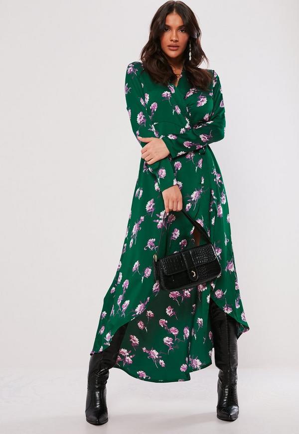 Green Floral Midi Shirt Dress Missguided