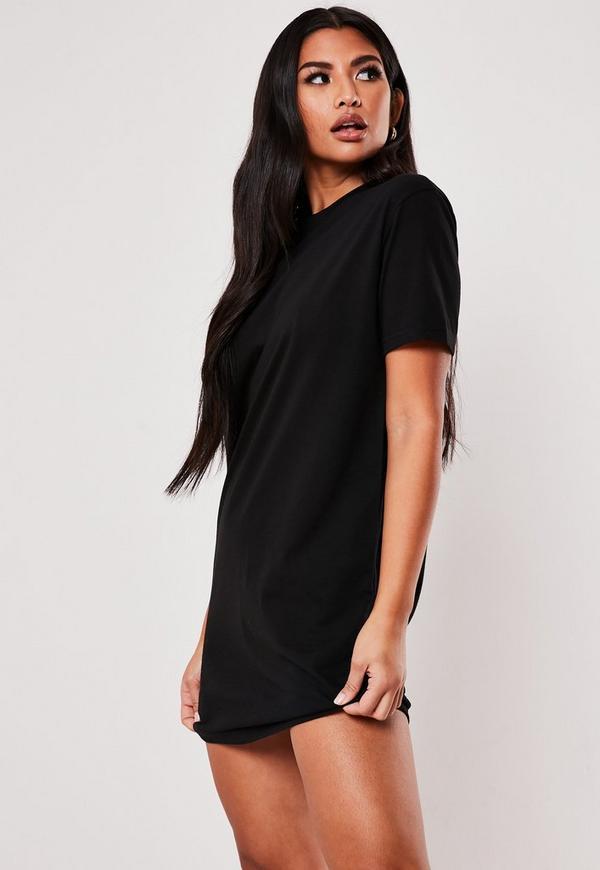 8dd7e8fa4b6e2 Black Oversized Zip Front Long Sleeve T-Shirt Dress. $40.00. Black Basic T  Shirt Dress