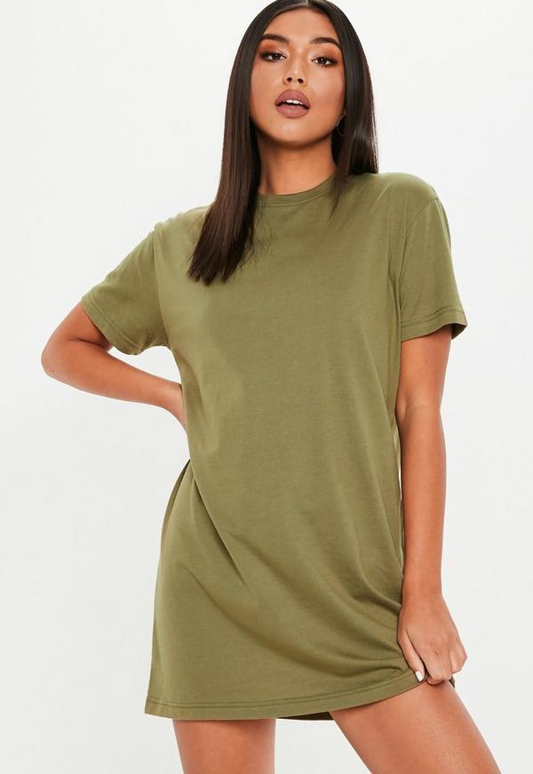 Basic-T-Shirt-Kleid in Khaki | Missguided