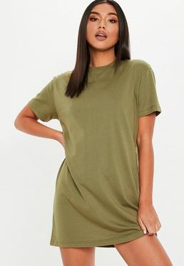 eef10fc0712e Khaki Basic T Shirt Dress