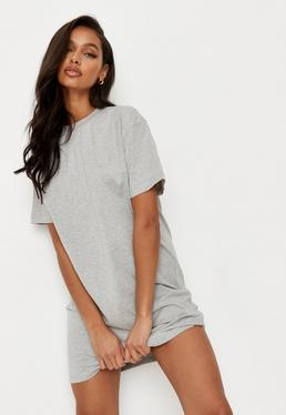 485e48c06fa7 Gray Basic T Shirt Dress