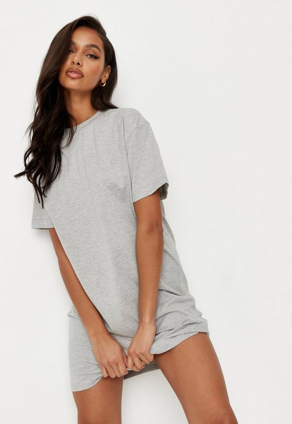 Grey Basic T Shirt Dress Missguided Ireland