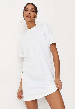 efe6b769317 White Basic T Shirt Dress
