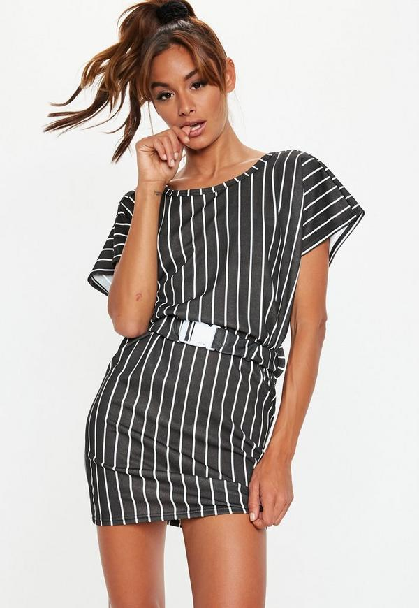 Black Stripe Buckle Belt T Shirt Dress Missguided