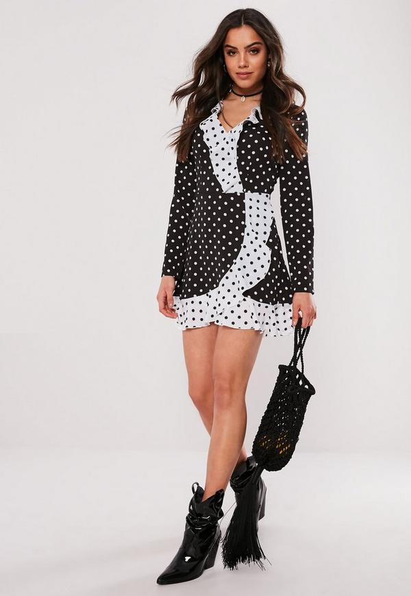 Black Polka Dot Ruffle Tea Dress Missguided