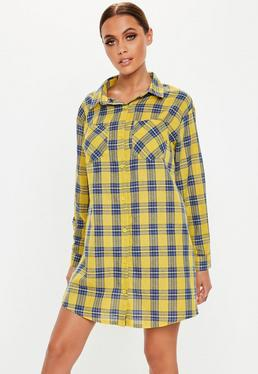 721416213d5844 ... Yellow Check Oversized Shirt Dress