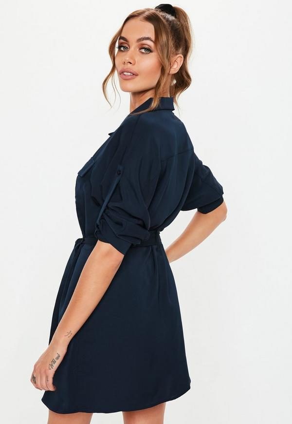 10df5faef27e0 Navy Tie Waist Utility Shirt Dress. Previous Next