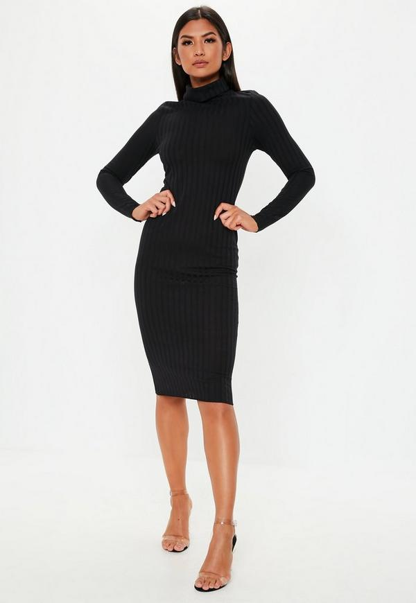 c397f6cb6e Black Ribbed Roll Neck Lettuce Hem Midi Dress