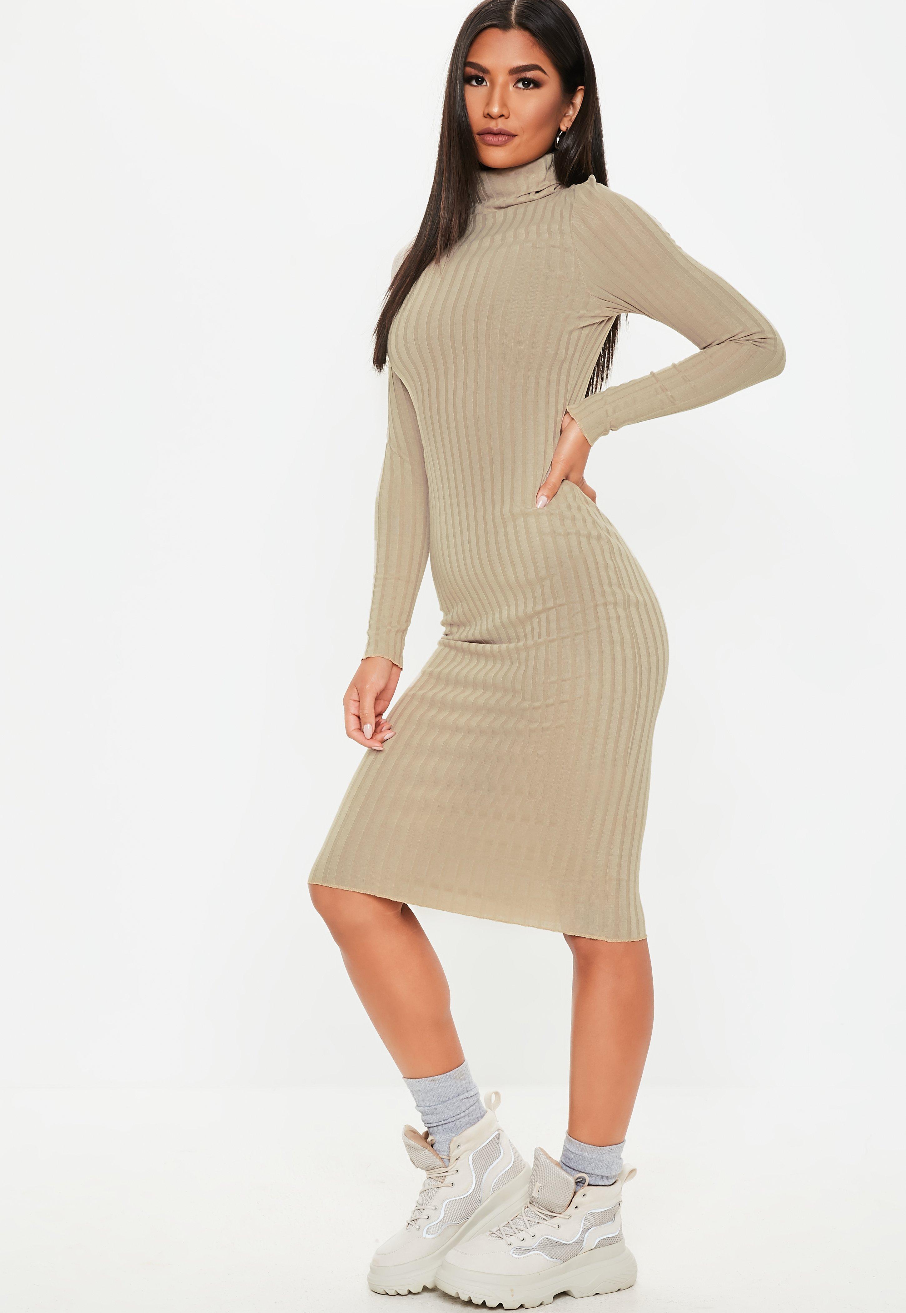 01ba32ff7a2 Stone Ribbed Roll Neck Lettuce Hem Midi Dress