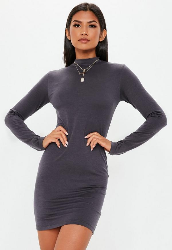 c80f361c0fa ... Dark Grey Curve Hem High Neck Mini Dress. Previous Next
