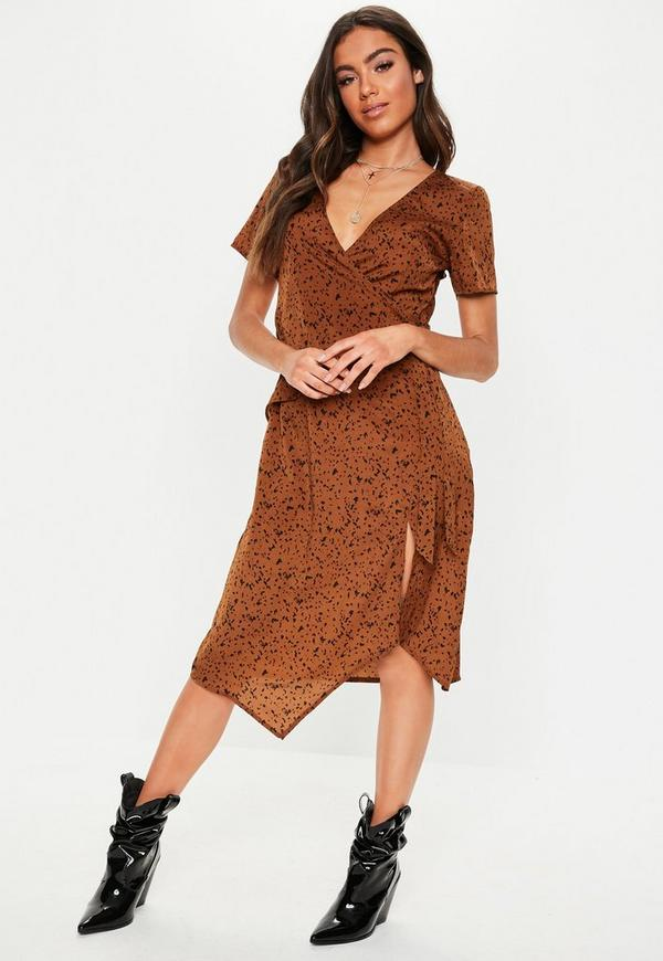 8d86966214ff ... Brown Dalmatian Print Tie Side Midi Dress. Previous Next