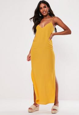 28791c374af Mustard Split Leg Maxi Dress