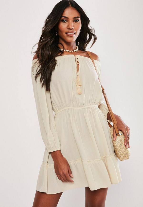 ca3d77da74 ... Stone Bardot Long Sleeve Tassel Dress. Previous Next