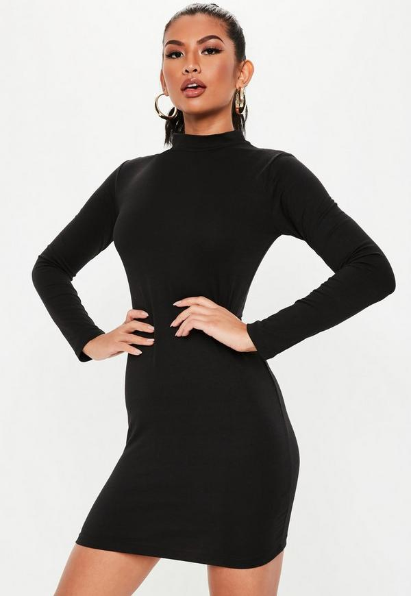 4a3a35a35c0 ... Black High Neck Curve Hem Mini Dress. Previous Next