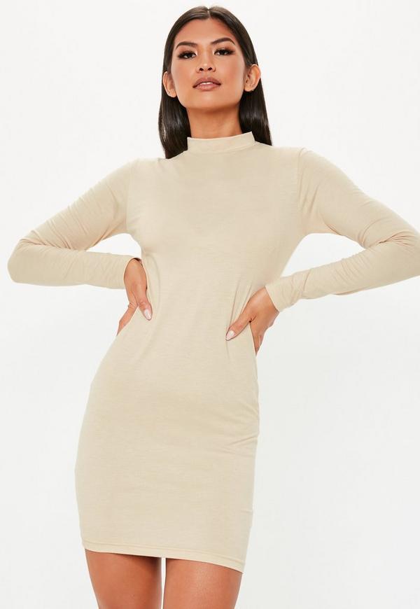 ac9f094381c Nude Curve Hem High Neck Mini Dress