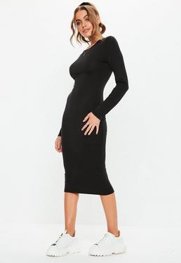7341f22331c60 Black Bodycon Long Sleeve Midi Dress