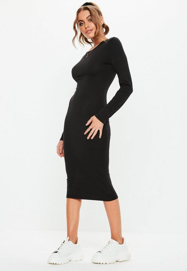 Black Long Sleeve Bodycon Midi Dress Missguided