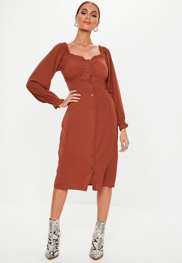 0ad8ca052c5 Rust Button Down Midi Milkmaid Dress