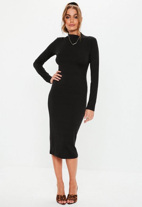 af9624dbe1f Black Curve Hem High Neck Midi Dress