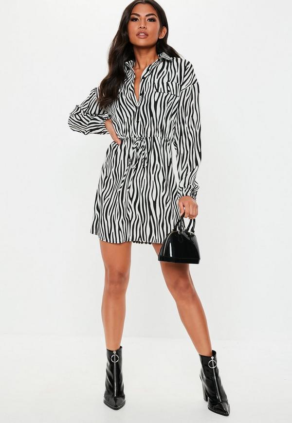76483e03404a Black Zebra Print Tie Waist Shirt Dress   Missguided