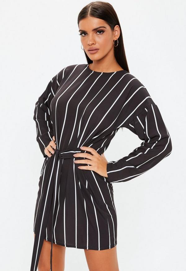 Black Tie Waist Stripe T Shirt Dress Missguided Ireland