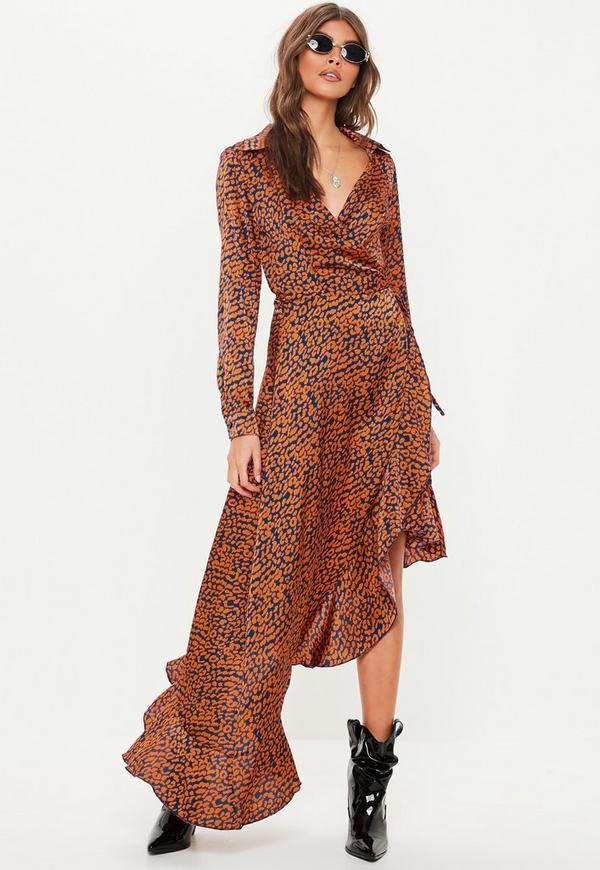 Orange Wrap Over Asymmetric Midi Dress Missguided