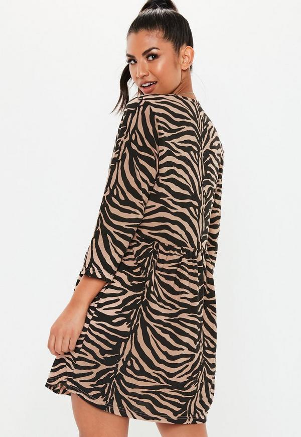 Brown Zebra Smock Dress Missguided