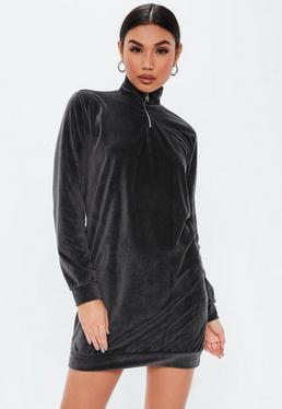 0e172f0aa32 ... Grey High Neck Velour Zip Sweater Dress