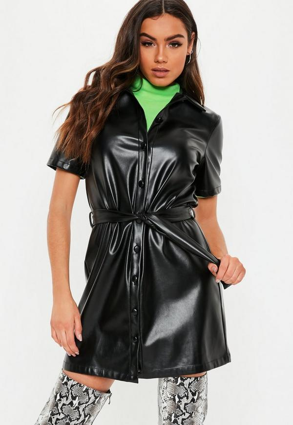 Black Faux Leather Button Through Shirt Dress Missguided