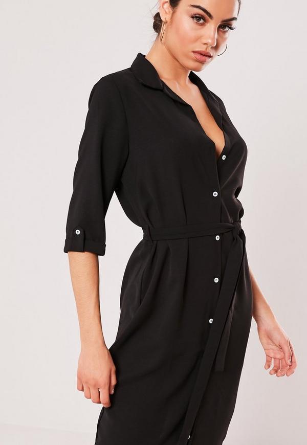 Black Tie Belt Midi Shirt Dress Missguided