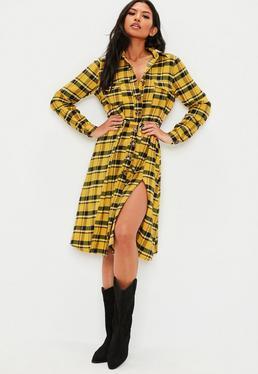 145211d7d8de1 ... Yellow Plaid Tie Belt Midi Shirt Dress