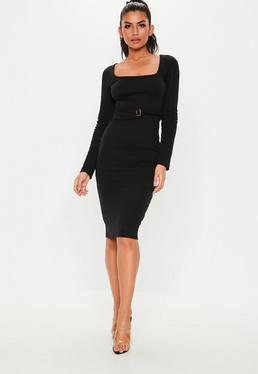 09ca29c126922 Black Ribbed Tie Belt Midi Dress