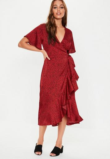 Red Polka Dot V Plunge Ruffle Midi Dress by Missguided