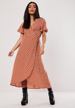 e946ace236 Rust Polka Dot High Low Wrap Midi Dress