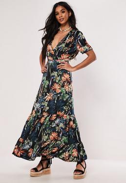 ea9ce5daa86 Black Floral Frill Hem Maxi Dress