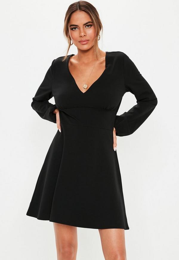 ... Black V Neck Skater Dress. Previous Next c45a7aab5