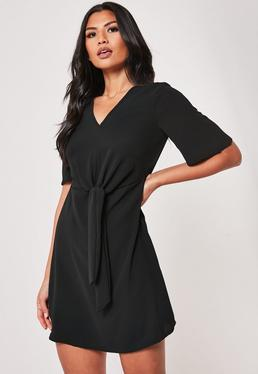 e713ba79e1c Black Tie Front Shift Dress