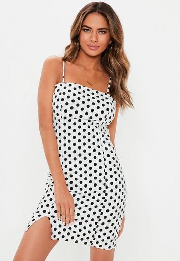 White Polka Dot Cami Bodycon Mini Dress Missguided