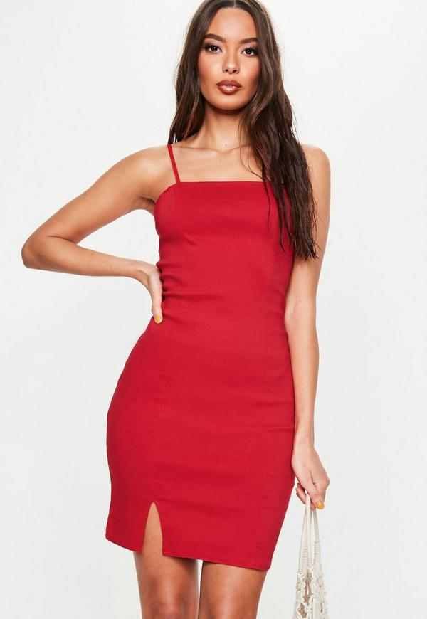 Red Cami Bodycon Dress Missguided