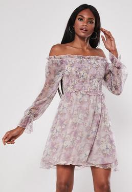 48c2b2f8e324 ... Purple Floral Frill Shirring Skater Dress