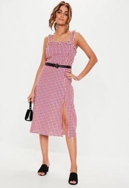 73ad590fb1a Red Gingham Ruched Midi Dress