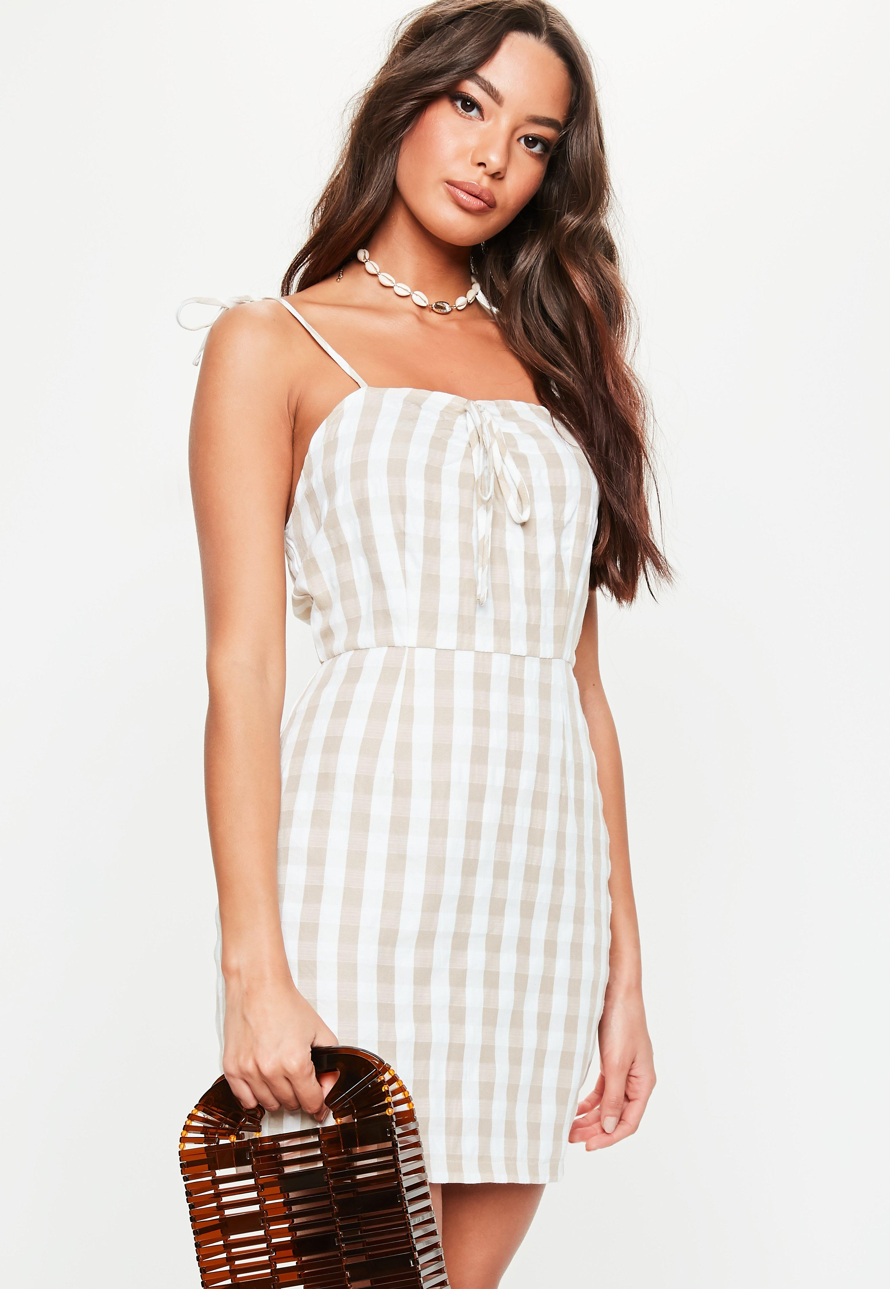 955c2eac40d Stone Gingham Cami Dress