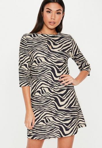 Cream Zebra Three Quarter Sleeve Shift Dress Missguided