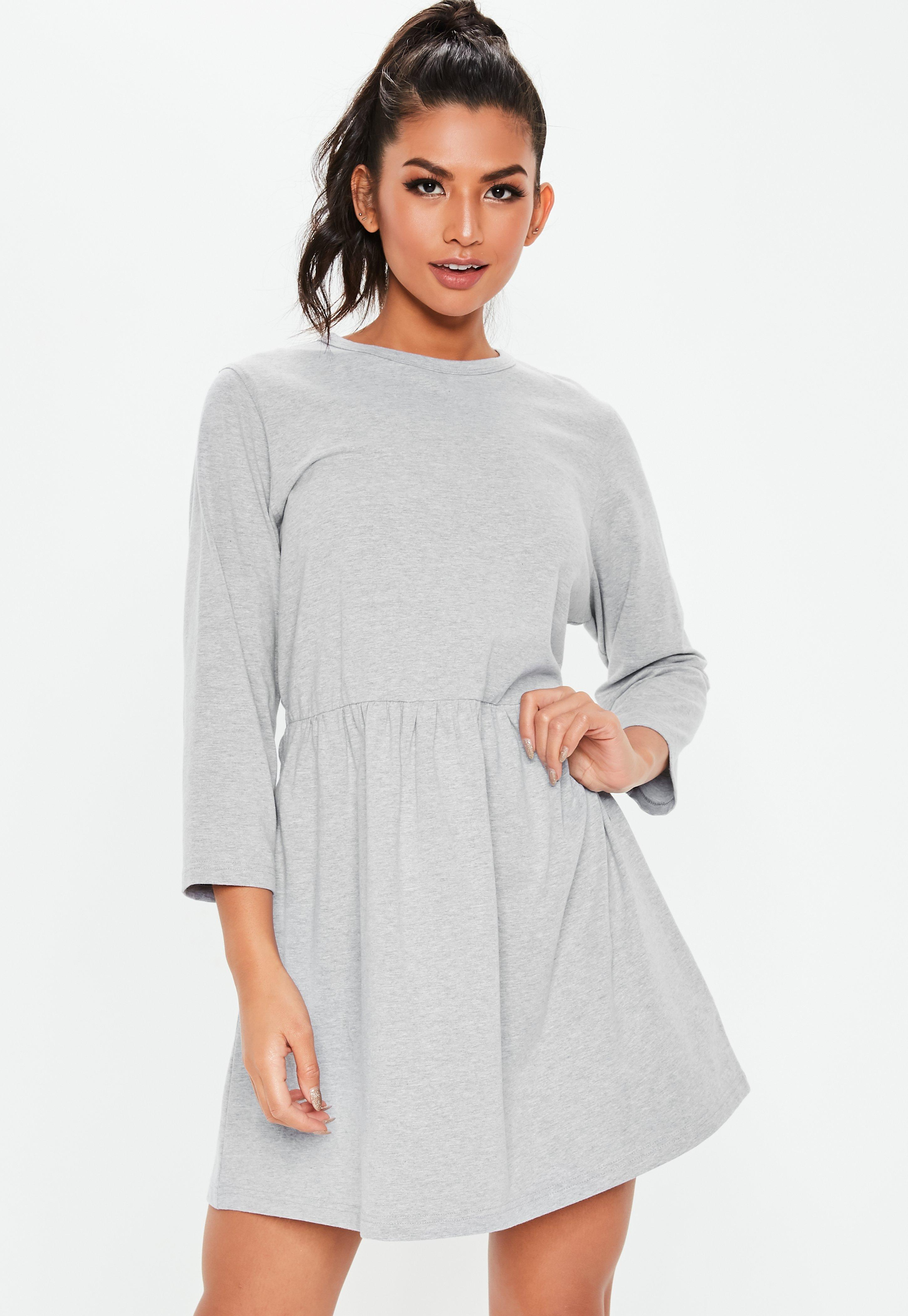 2a16bfb4ab6 Grey Jersey Half Sleeve Oversized Smock Dress | Missguided