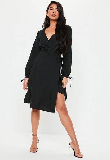 Black Balloon Sleeve Wrap Midi Dress by Missguided