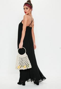 9623c8c310f9 ... Black Strappy Pleated Maxi Dress