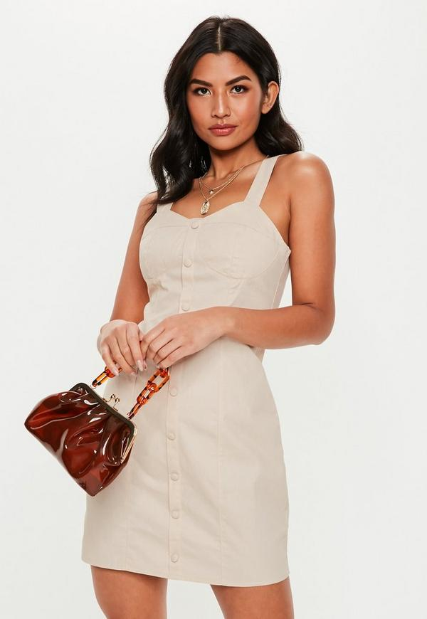 Stone Bust Cup Twill Mini Dress by Missguided