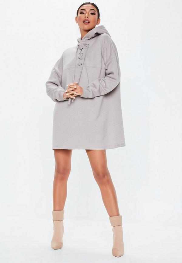 Grey Lace Up Pocket Front Hoodie Dress by Missguided