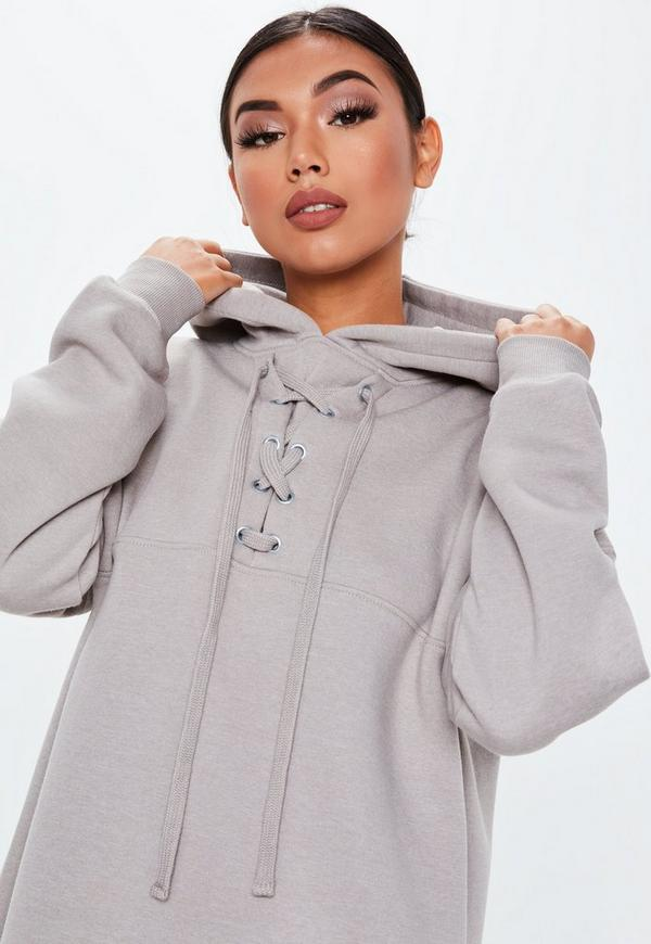 ... Grey Lace Up Pocket Front Hoodie Dress. Previous Next ccf0a75a0